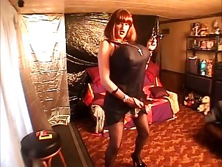 Miss Gwen big busted bimbo transvestite shemale smoking masterbating slut