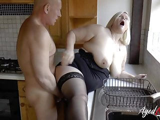 Busty mature blonde Lacey Starr got fucked hard on all the different places
