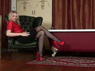 Horny bright blondie in red stuff Emma Turner is ready for good masturbation