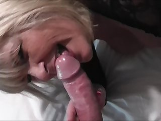 Blonde amateur mature granny gives a sloppy blowjob close up POV