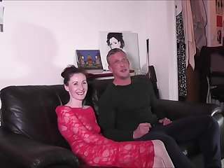 REdhead mature with a shaved pussy Scarlet Red sucks a stiff rod