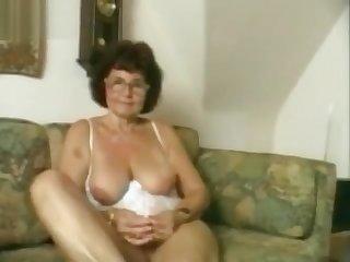 Sweet old lady masturbating.