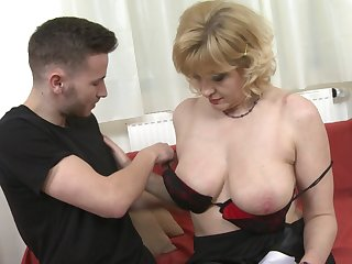 Sandra G. strips to get her mature shaved pussy pounded hardcore