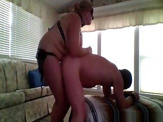 Mature woman pegging her husband like a true femdom