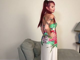 Red haired housewife Heather is toying her pierced stretched twat