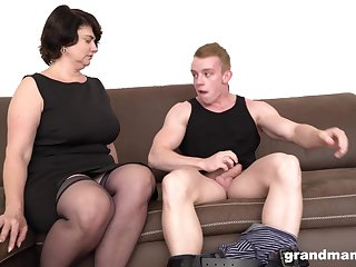 Short haired mature MILF picks up a guy from the street for a fuck