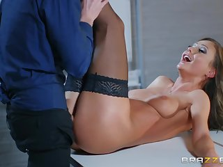 Cocky lad Danny pounds hot tanned babe Tina Kay in the office