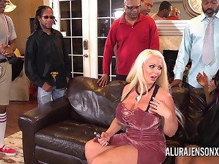 Alura Jenson gangbanged by six black cocks at once