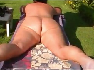 Ьy mature wife Peggy naked in our garden. Her big ass is irresistible