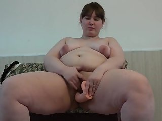Beautiful BBW with a hairy cunt, fucking with a big rubber dick