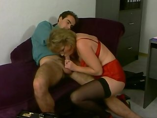 Mature Red Satin Lingerie Stockings Fucked in the Office