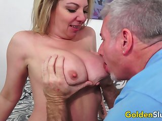 Busty Mature Blonde Kiki Daire Spreads Her Legs Wide for an Old Cock