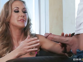 Well-hung dude gives mature blonde a doggy anal fuck