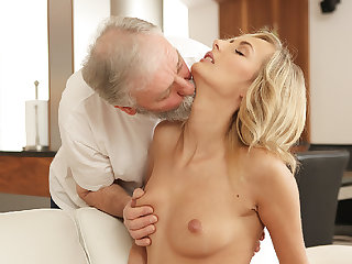 OLD4K. Grey-haired dad and his 18yo girl blondie hair babe wife make...