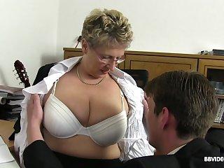Hardcore office group sex with mature nerdy secretaries