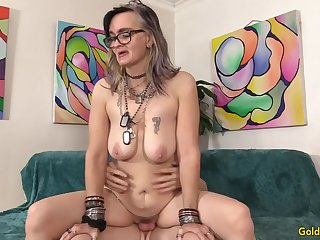 Exotic GILF Lilith Lust Blows and Mounts Her Young BFs Dick