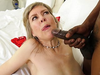 Mature blonde slut Jamie Foster gets fucked balls deep by a BBC