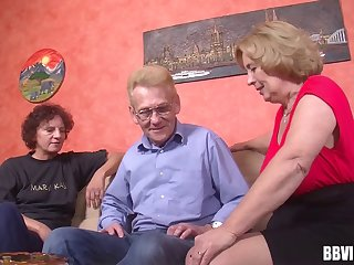 At the retirement home two grannys and a gramps have a threesome