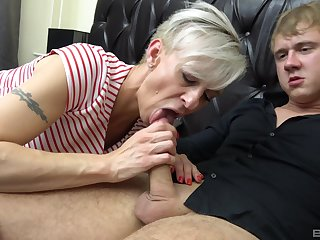 Martina Steskalova and Gerlinda Spalova sucking two hard dicks