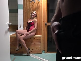 Blonde mature spreads her legs and gets fucked by her lover