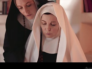 Two sinful mature nuns are licking and munching each others pussies