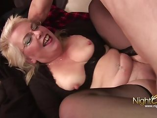 blonde mature granny with big ass fucks her young stepson