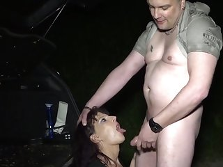 Amature slut Samy Saint with tattoos fucked in the street like a whore