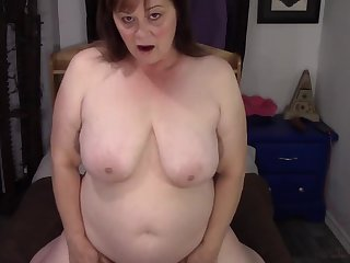 old ugly fat wife with saggy natural tits masturbating at home