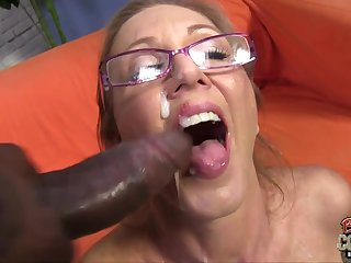 Interracial threesome with ugly old mom taking 2 BBC and facial cumshots