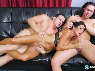 Mom Layla Fucks Her Son's Friends threesome with horny busty mature
