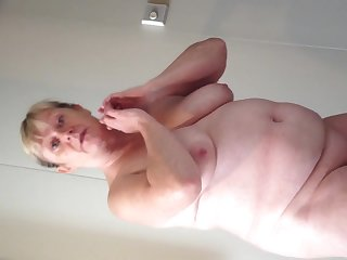Bbw wife cruising and showing her big breasts and fat belly