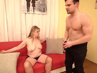 Fat blonde mature Bella S. loves to be fucked by her handsome friend