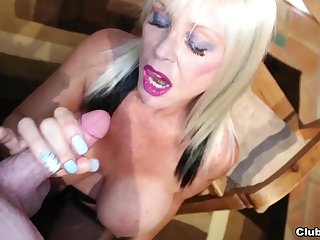 Massive fake bazooms blonde Shelly Burbank jerks off a dick on her