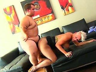 Midget fucks busty MILF and cums on her big ass