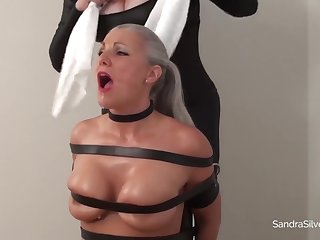 Bounding and gagging poor fair-haired mature