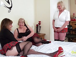 Threesome sexual party with three busty british lesbian matures and sex toys