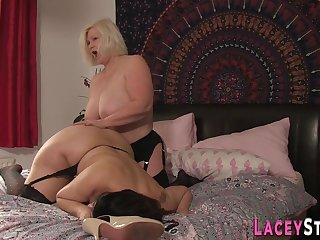 Lesbian grandmother in stockings toys milf