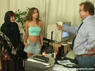 Office sex with a young secretary and mature couple - Ivana and Radka