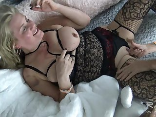 Busty lesbians making out and tasting wet pussy