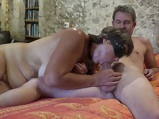 Lusty whore gets blindfolded while giving my buddy a blowjob
