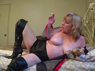 In Lingerie & Boots, Smoking While You Stroke - TacAmateurs