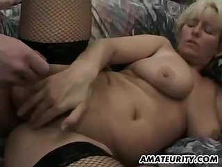 Big-Breasted Amateur Cougar In Hardcore 3Some Sex