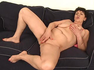 Old Woman Rubs Pussy - GILF solo