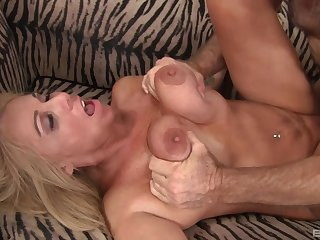 During hot sex, Dalny Marga's tits are squeezed, and her ass is licked