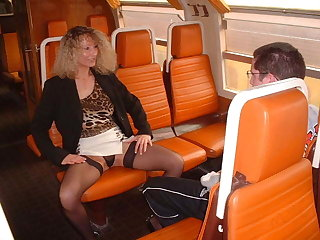 Virgin boy with milf on a train