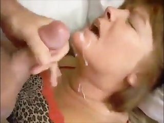 Face fucked mature wife sucking slowly young dick and drink cum
