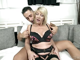 Full natural busty cougar Rosemary is fucked by young hot blooded student