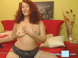 Redhead mature always masturbate with a big toy in asshole.