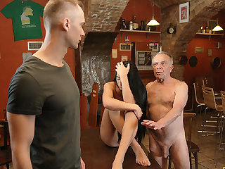 DADDY4K. Old dad seduces beautiful dark hair girl while son..