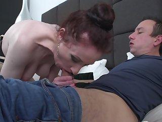 Slender skinny mature redhead amateur Scarlet missionary style fucked